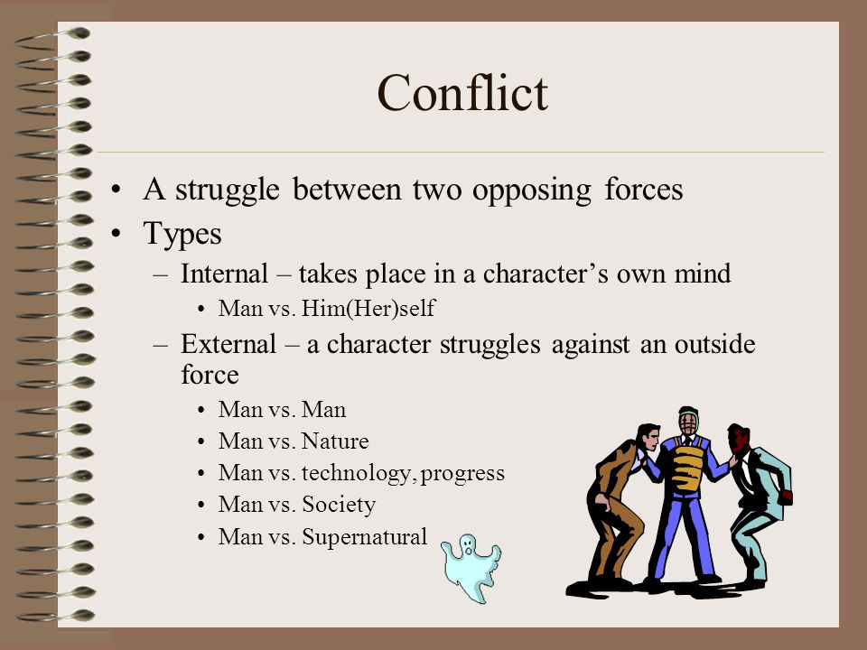 Conflict A struggle between two opposing forces Types –Internal – takes place in a character's own mind Man vs. Him(Her)self –External – a character s