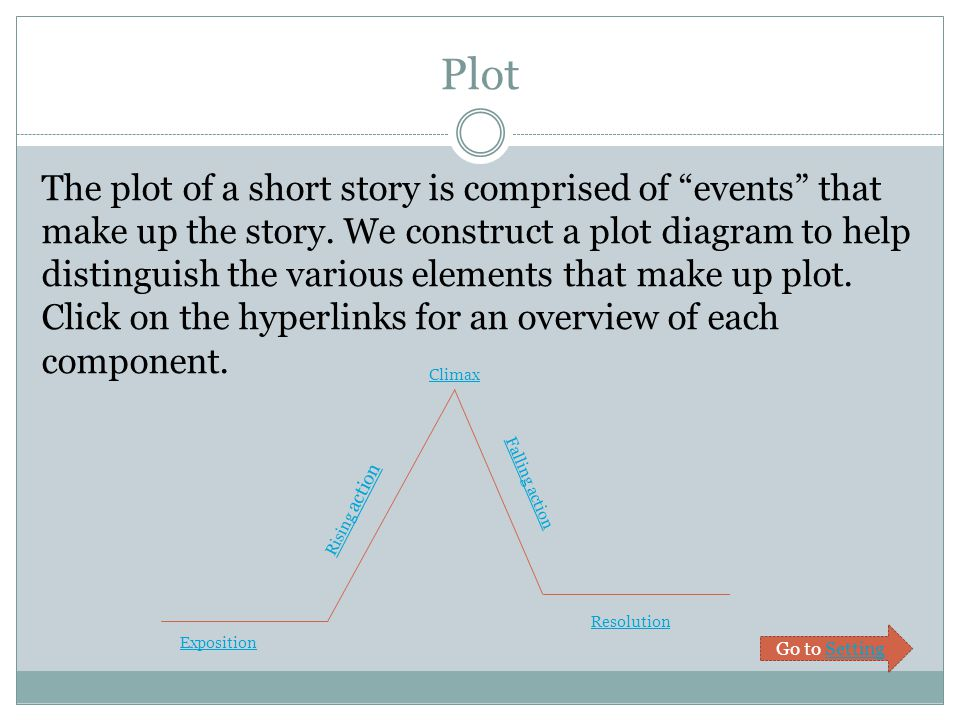 Plot The plot of a short story is comprised of events that make up the story.