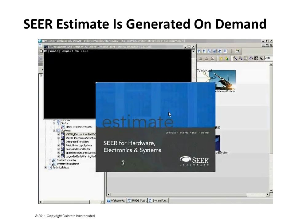 SEER Estimate Is Generated On Demand © 2011 Copyright Galorath Incorporated