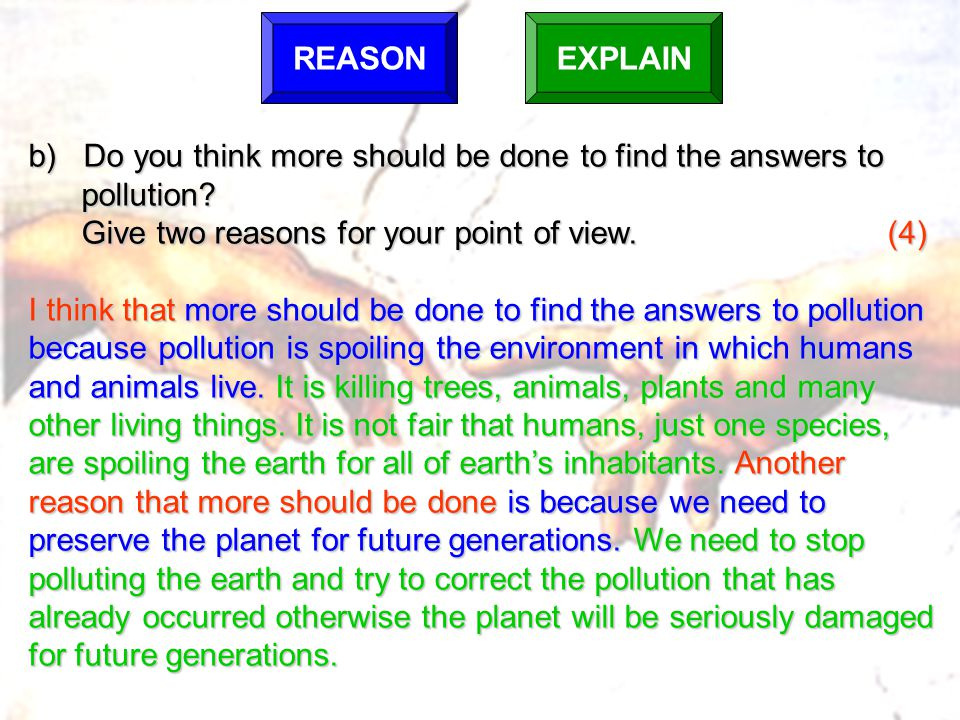 b) Do you think more should be done to find the answers to pollution.