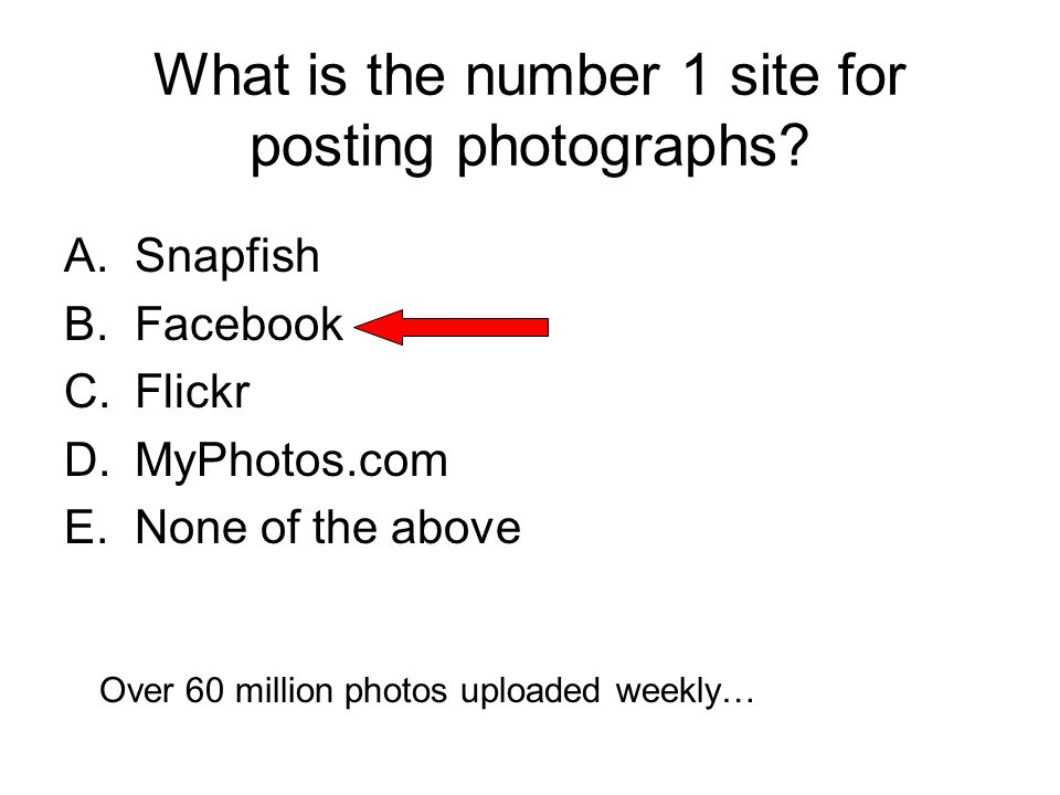 A.Snapfish B.Facebook C.Flickr D.MyPhotos.com E.None of the above What is the number 1 site for posting photographs