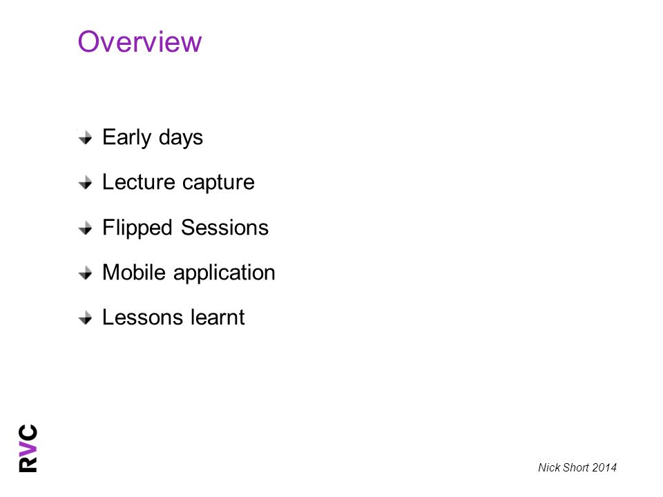 Nick Short 2014 Early days Lecture capture Flipped Sessions Mobile application Lessons learnt Overview