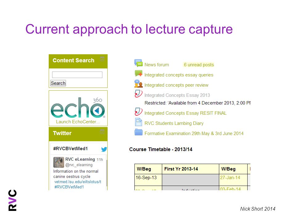 Nick Short 2014 Current approach to lecture capture
