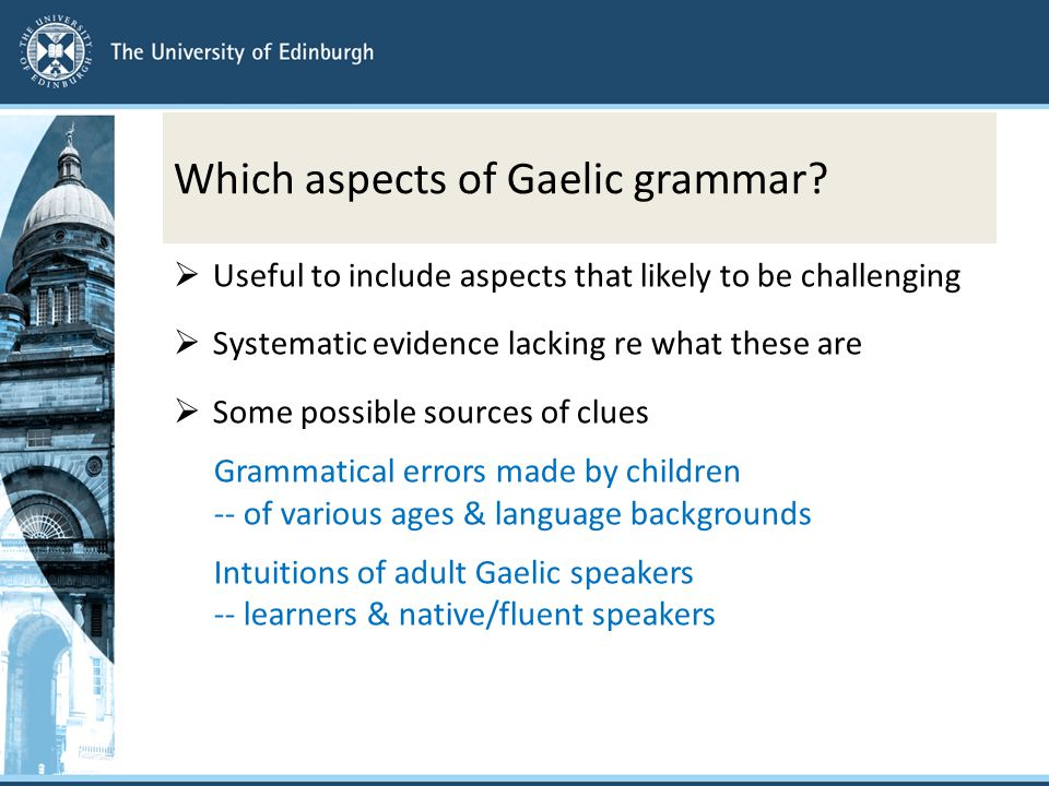 Which aspects of Gaelic grammar.