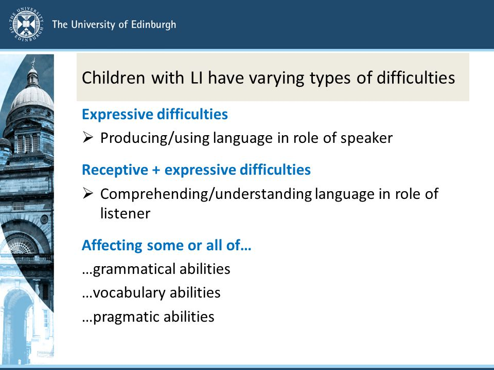 Children with LI have varying types of difficulties Expressive difficulties  Producing/using language in role of speaker Receptive + expressive difficulties  Comprehending/understanding language in role of listener Affecting some or all of… …grammatical abilities …vocabulary abilities …pragmatic abilities