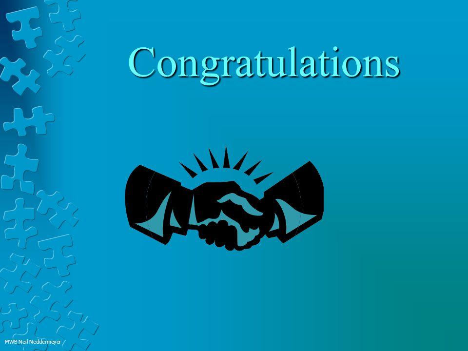Congratulations MWB Neil Neddermeyer