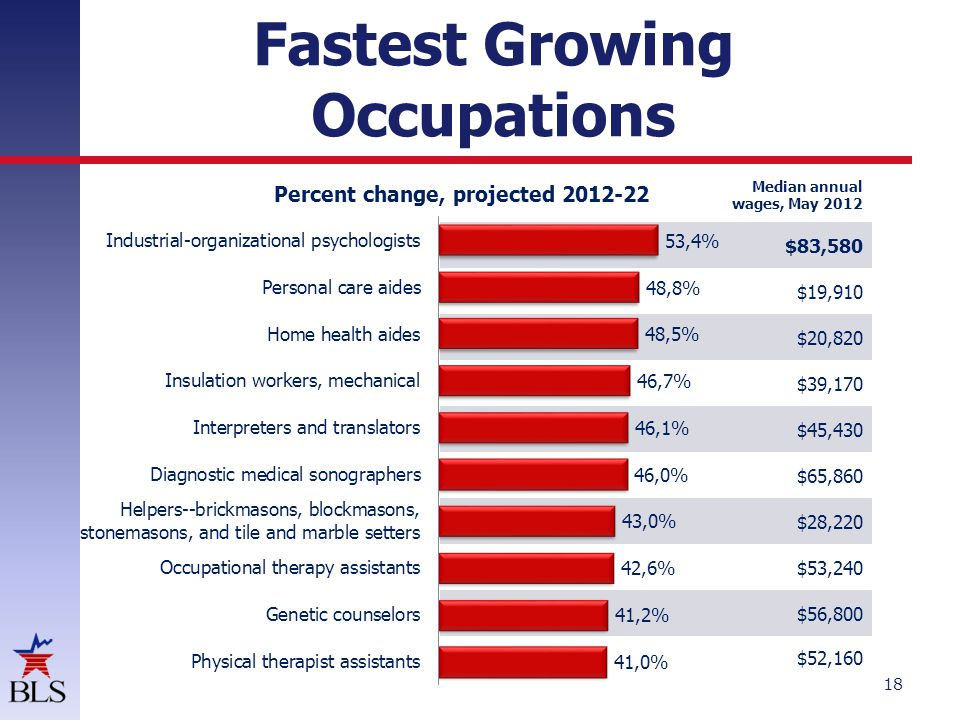 Fastest Growing Occupations 18 Percent change, projected 2012-22 Median annual wages, May 2012 $83,580 $19,910 $20,820 $39,170 $45,430 $65,860 $28,220 $53,240 $56,800 $52,160