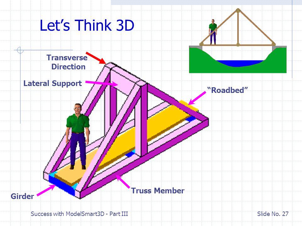 "Success with ModelSmart3D - Part III Slide No. 26 Computer Model – Load(s) Y X J3(6,0) J5(12,0) J5(6,4) J1(0,0) Computer Model Sketch Scale 01"" 2"" J4("