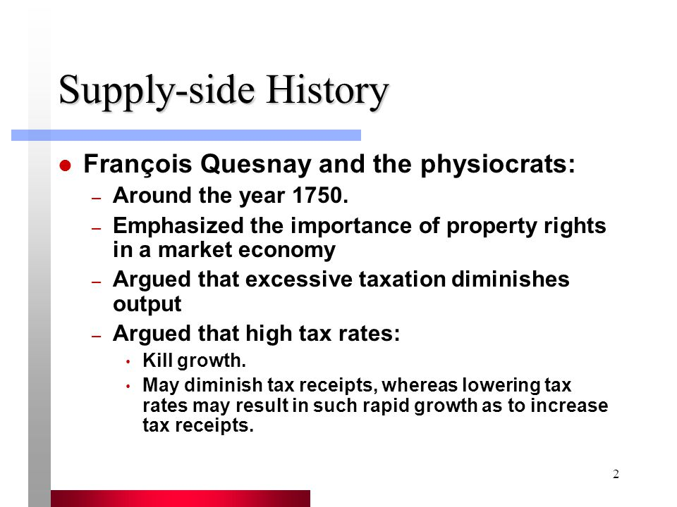 2 Supply-side History François Quesnay and the physiocrats: – Around the year 1750.