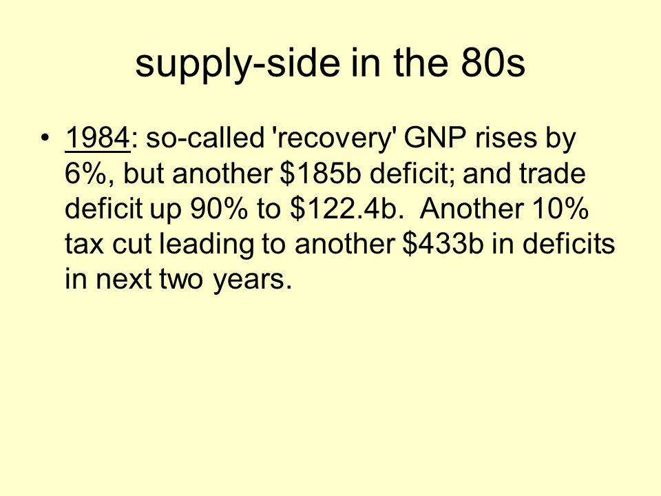 supply-side in the 80s 1984: so-called recovery GNP rises by 6%, but another $185b deficit; and trade deficit up 90% to $122.4b.