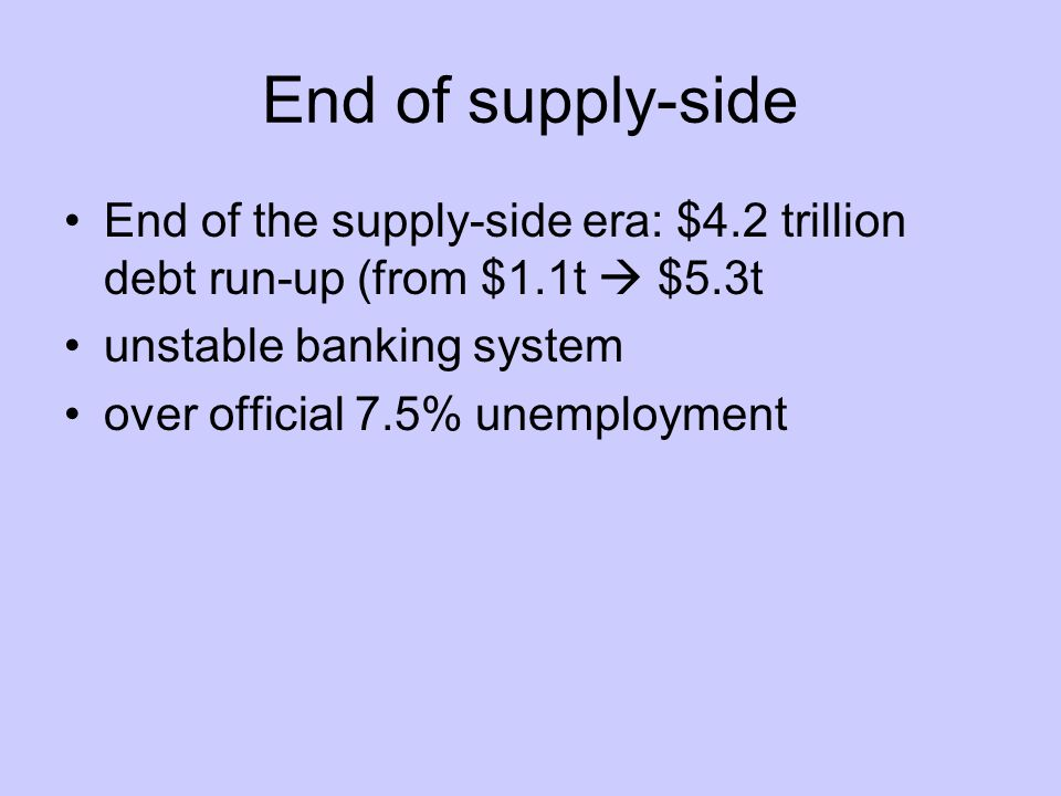 End of supply-side End of the supply-side era: $4.2 trillion debt run-up (from $1.1t  $5.3t unstable banking system over official 7.5% unemployment
