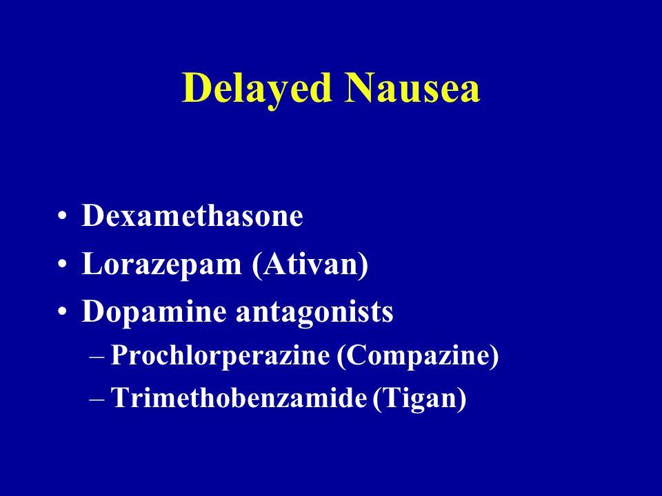 Delayed Nausea Dexamethasone Lorazepam (Ativan) Dopamine antagonists –Prochlorperazine (Compazine) –Trimethobenzamide (Tigan)