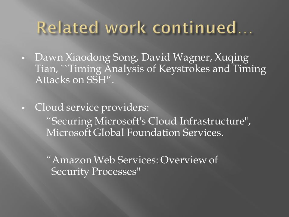  Dawn Xiaodong Song, David Wagner, Xuqing Tian, ``Timing Analysis of Keystrokes and Timing Attacks on SSH '.