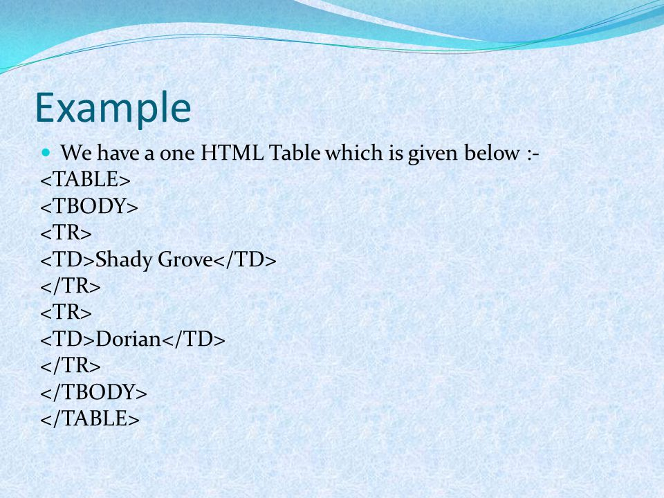 Example We have a one HTML Table which is given below :- Shady Grove Dorian