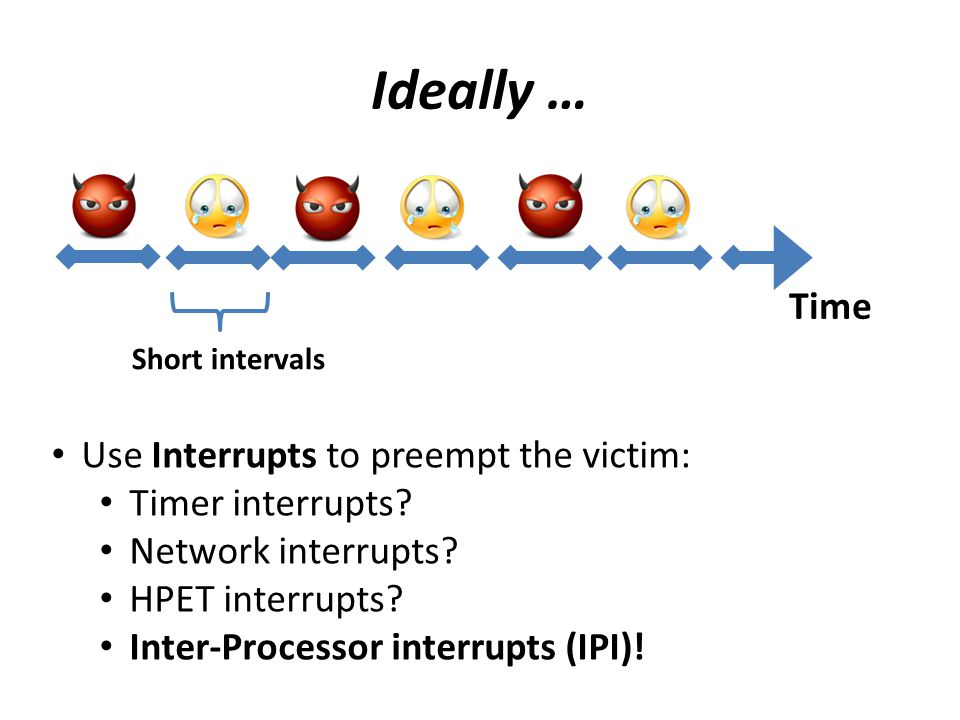 Ideally … Short intervals Use Interrupts to preempt the victim: Timer interrupts? Network interrupts? HPET interrupts? Inter-Processor interrupts (IPI