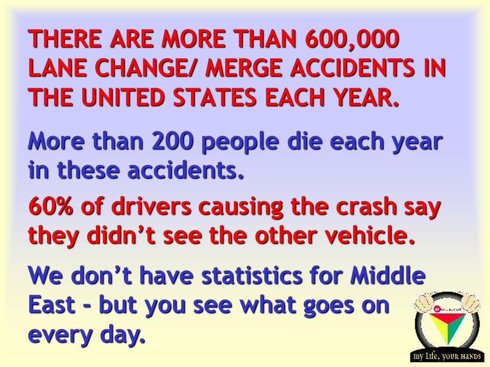 Transportation Tuesday THERE ARE MORE THAN 600,000 LANE CHANGE/ MERGE ACCIDENTS IN THE UNITED STATES EACH YEAR.
