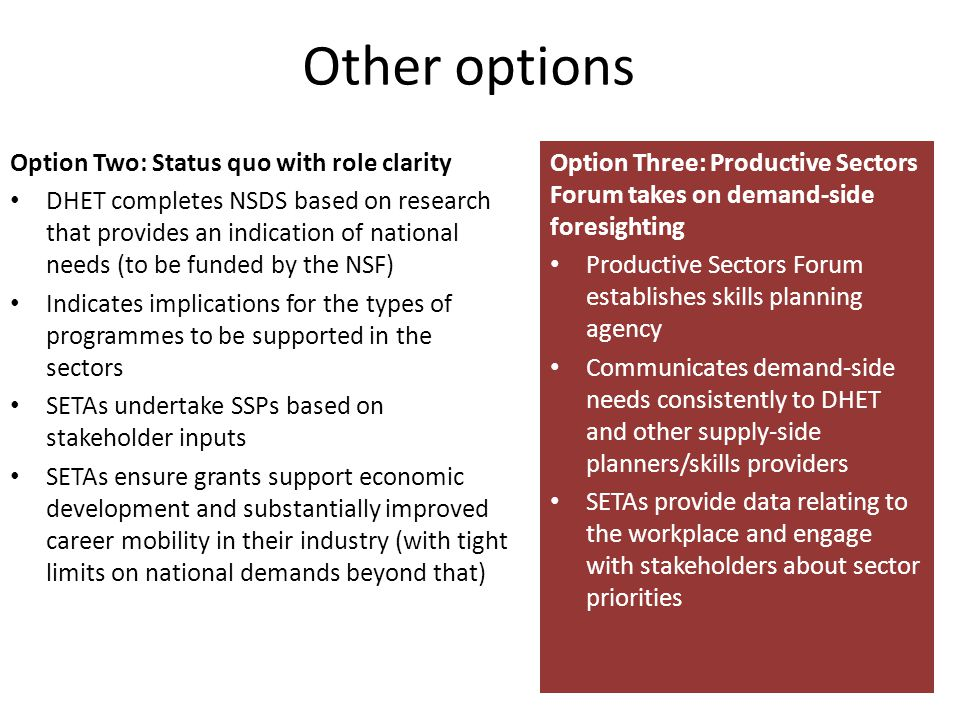 Other options Option Two: Status quo with role clarity DHET completes NSDS based on research that provides an indication of national needs (to be funded by the NSF) Indicates implications for the types of programmes to be supported in the sectors SETAs undertake SSPs based on stakeholder inputs SETAs ensure grants support economic development and substantially improved career mobility in their industry (with tight limits on national demands beyond that) Option Three: Productive Sectors Forum takes on demand-side foresighting Productive Sectors Forum establishes skills planning agency Communicates demand-side needs consistently to DHET and other supply-side planners/skills providers SETAs provide data relating to the workplace and engage with stakeholders about sector priorities