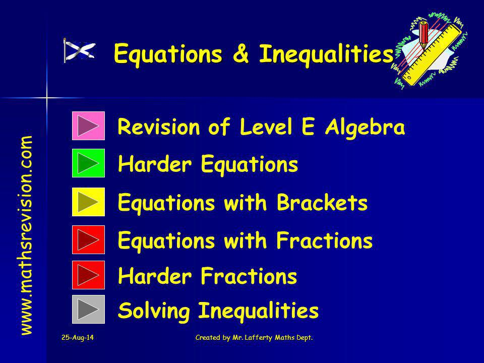 25-Aug-14Created by Mr. Lafferty Maths Dept. Revision of Level E Algebra Harder Equations Equations & Inequalities www.mathsrevision.com Equations wit
