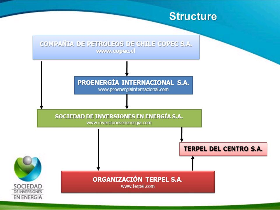 Historia SIE Structure COMPAÑIA DE PETROLEOS DE CHILE COPEC S.A. www.copec.cl www.copec.cl PROENERGÍA INTERNACIONAL S.A. www.proenergiainternacional.c