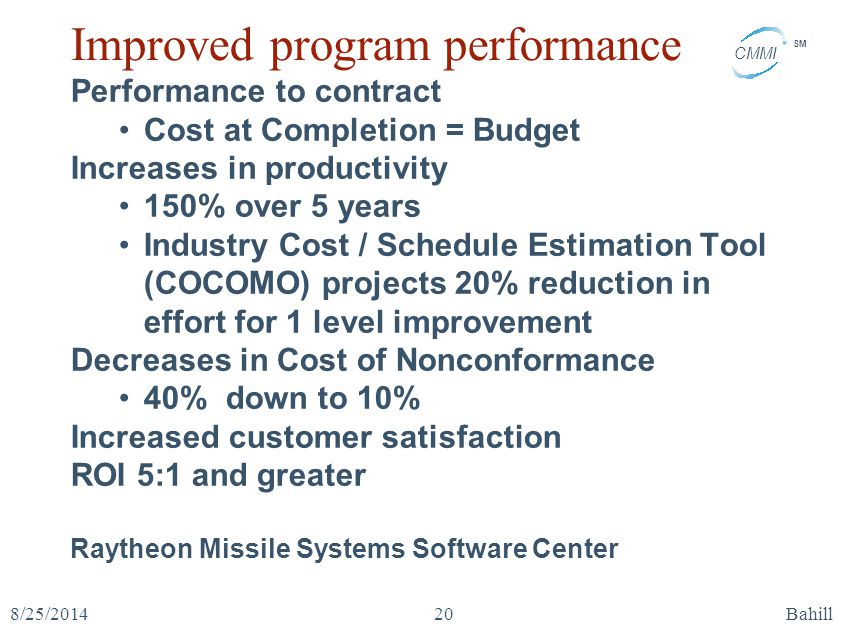 CMMI SM 8/25/2014Bahill20 Improved program performance Performance to contract Cost at Completion = Budget Increases in productivity 150% over 5 years