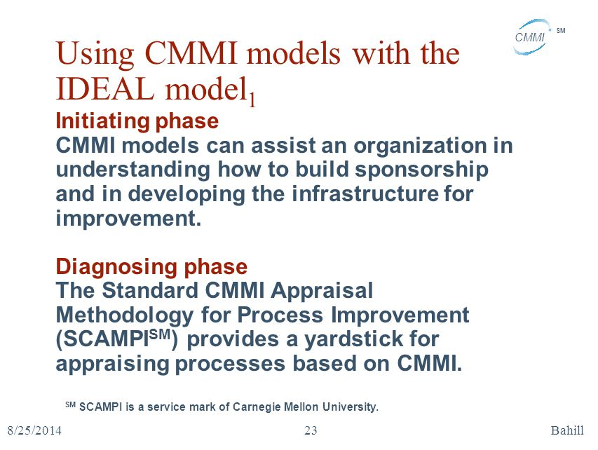 CMMI SM 8/25/2014Bahill23 Using CMMI models with the IDEAL model 1 Initiating phase CMMI models can assist an organization in understanding how to bui