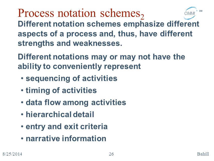 CMMI SM 8/25/2014Bahill26 Process notation schemes 2 Different notation schemes emphasize different aspects of a process and, thus, have different str