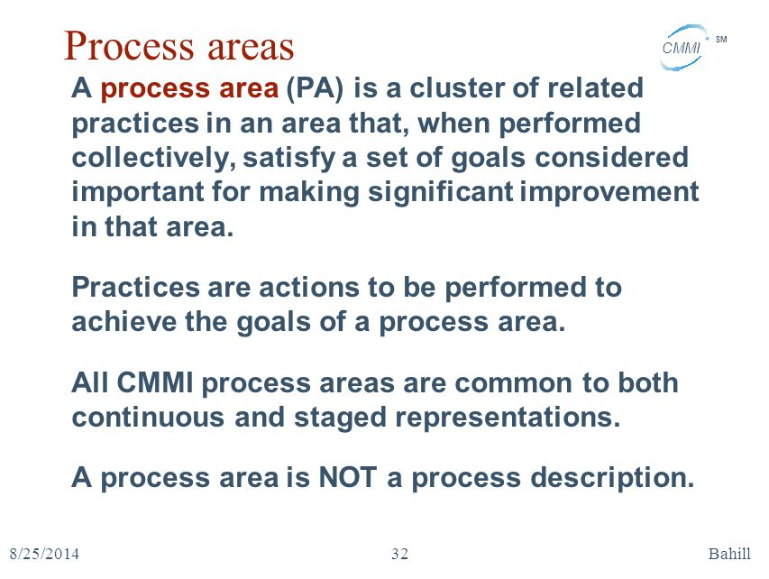 CMMI SM 8/25/2014Bahill32 Process areas A process area (PA) is a cluster of related practices in an area that, when performed collectively, satisfy a