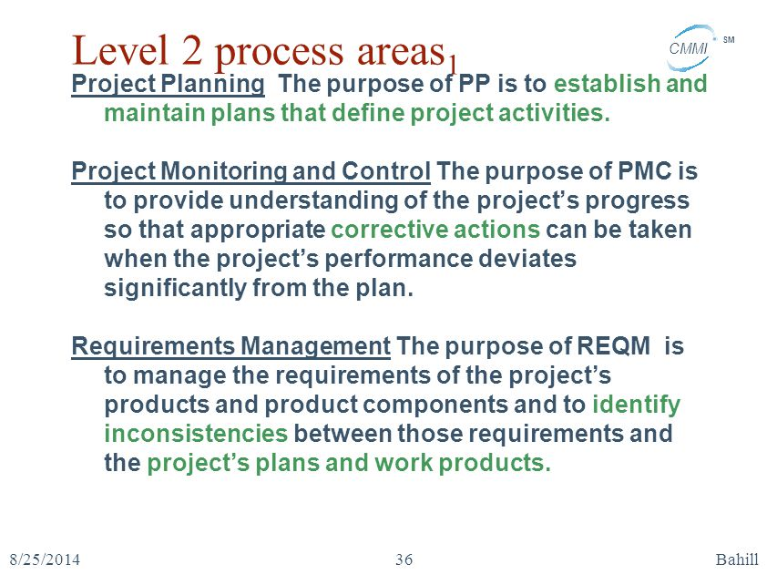 CMMI SM 8/25/2014Bahill36 Level 2 process areas 1 Project Planning The purpose of PP is to establish and maintain plans that define project activities