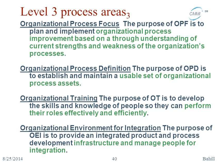 CMMI SM 8/25/2014Bahill40 Level 3 process areas 3 Organizational Process Focus The purpose of OPF is to plan and implement organizational process impr