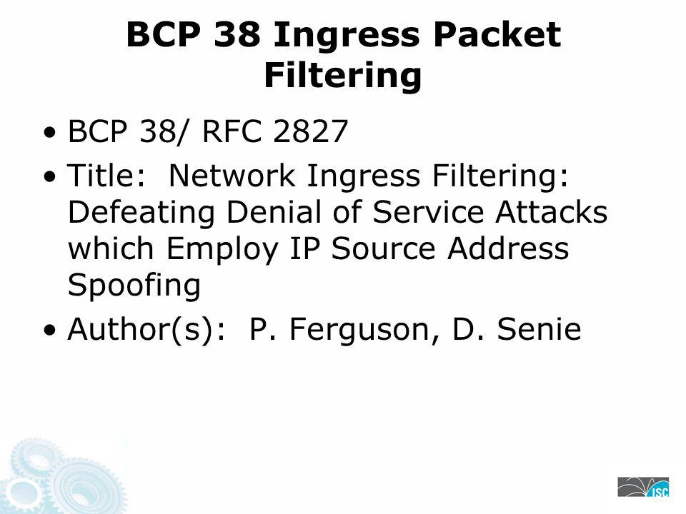 BCP 38 Ingress Packet Filtering BCP 38/ RFC 2827 Title: Network Ingress Filtering: Defeating Denial of Service Attacks which Employ IP Source Address Spoofing Author(s): P.