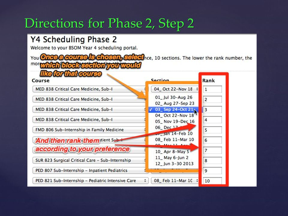 Directions for Phase 2, Step 2