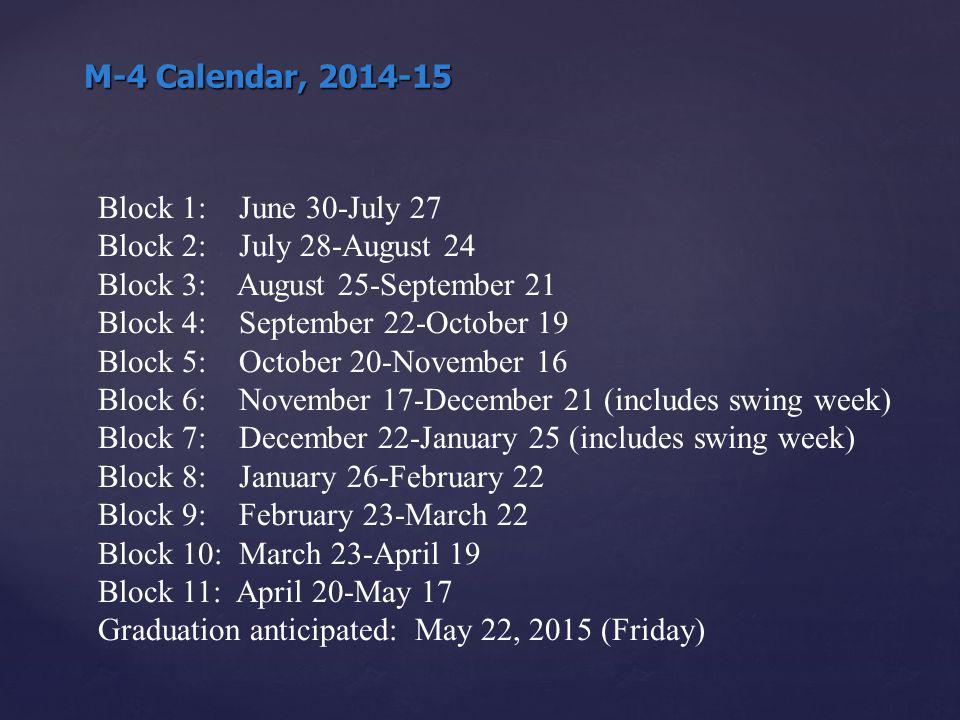 M-4 Calendar, 2014-15 Block 1: June 30-July 27 Block 2: July 28-August 24 Block 3: August 25-September 21 Block 4: September 22-October 19 Block 5: October 20-November 16 Block 6: November 17-December 21 (includes swing week) Block 7: December 22-January 25 (includes swing week) Block 8: January 26-February 22 Block 9: February 23-March 22 Block 10: March 23-April 19 Block 11: April 20-May 17 Graduation anticipated: May 22, 2015 (Friday)
