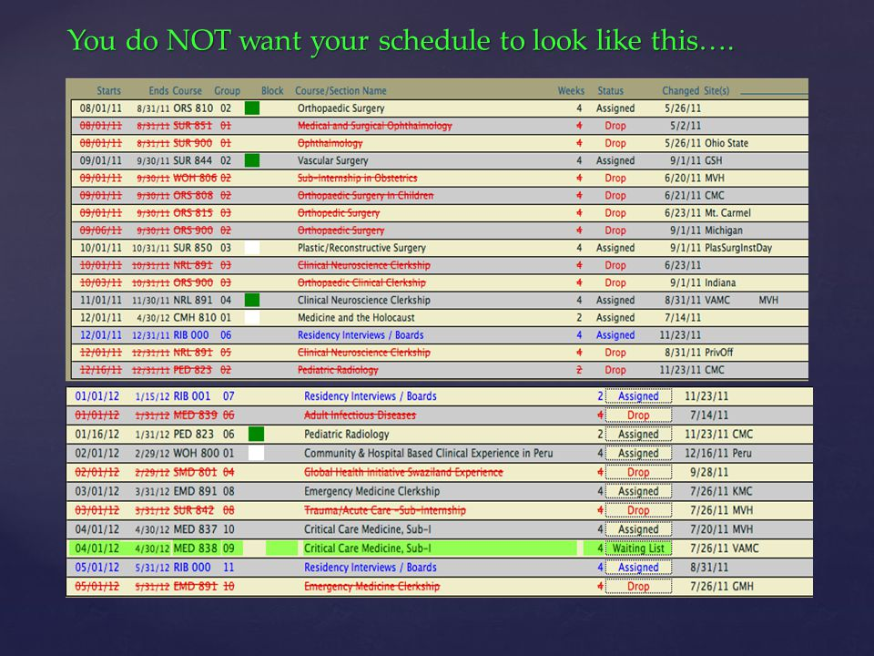 You do NOT want your schedule to look like this….