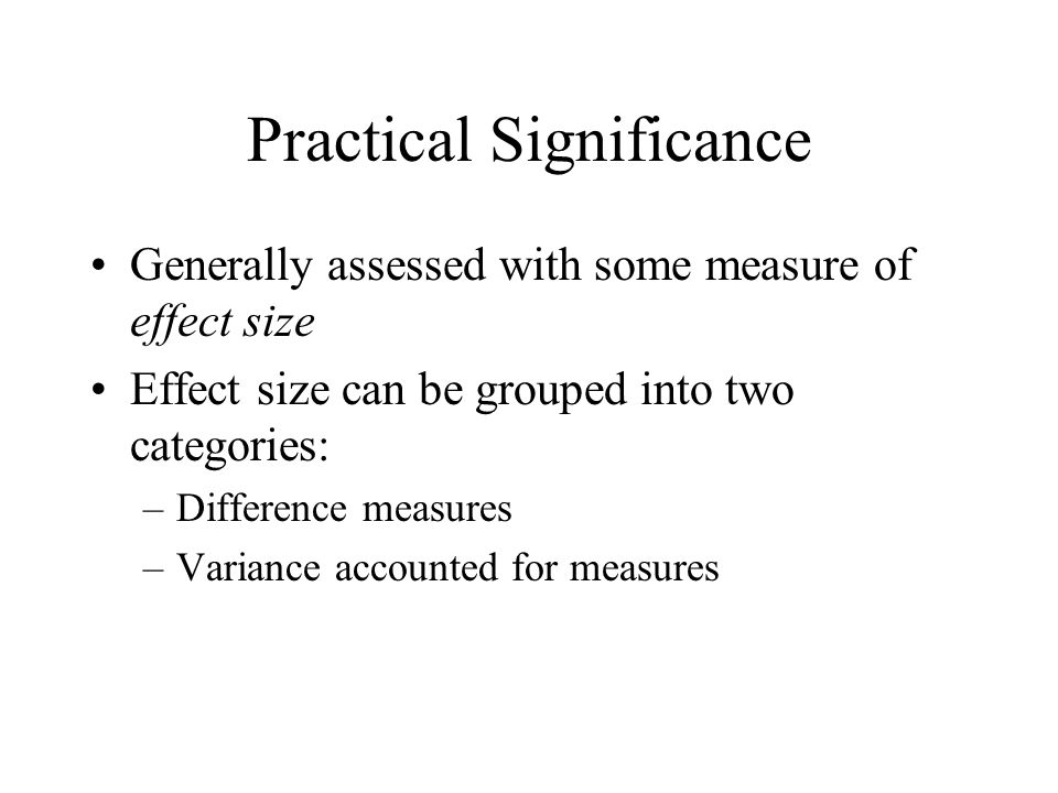 Difference effect sizes Simple mean difference Suppose you design at control group experiment to evaluate the effects of CBT on depression.