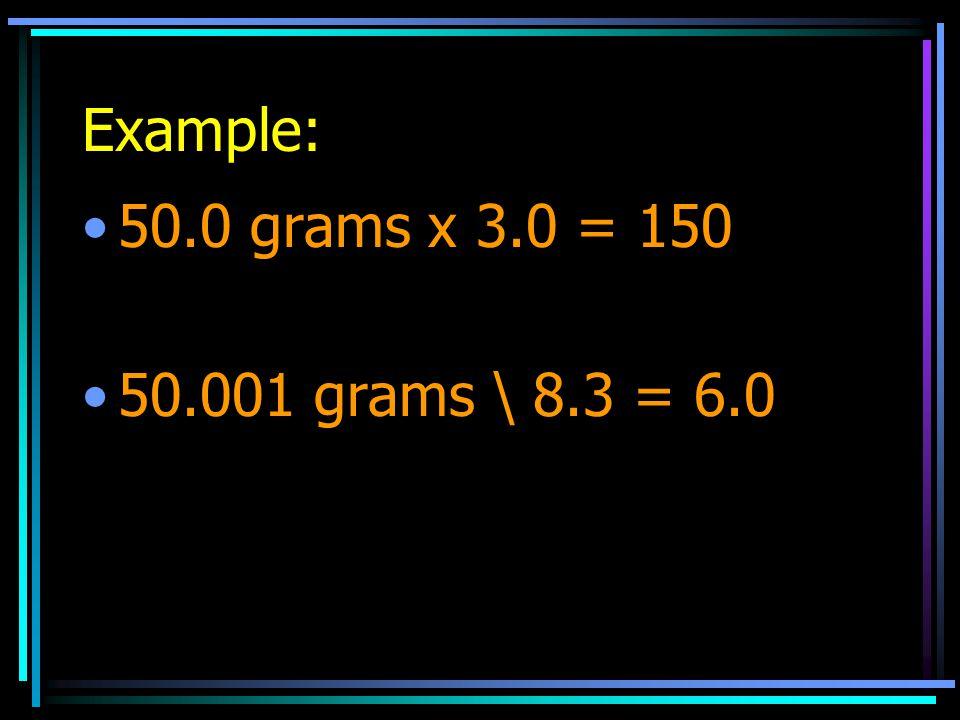 Example: 50.0 grams x 3.0 = 150 50.001 grams \ 8.3 = 6.0