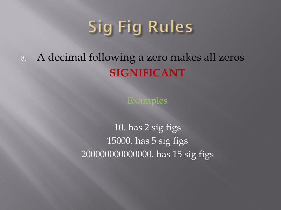 8. A decimal following a zero makes all zeros SIGNIFICANT Examples 10. has 2 sig figs 15000. has 5 sig figs 200000000000000. has 15 sig figs