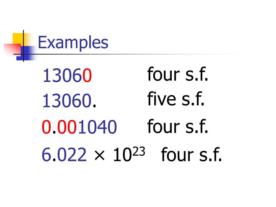 Examples 13060 four s.f. 13060. five s.f. 0.001040 four s.f. 6.022 × 10 23 four s.f.