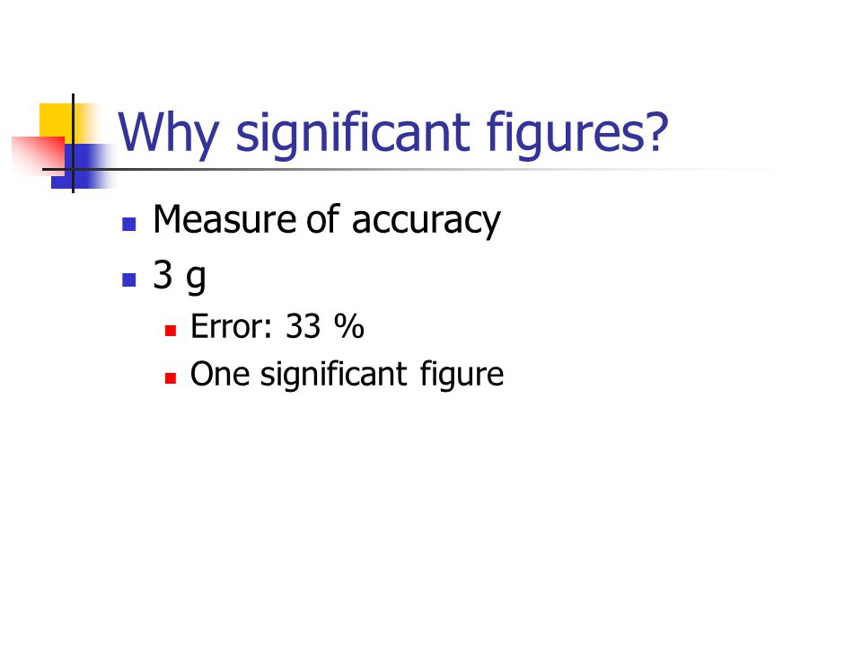 Why significant figures? Measure of accuracy 3 g Error: 33 % One significant figure