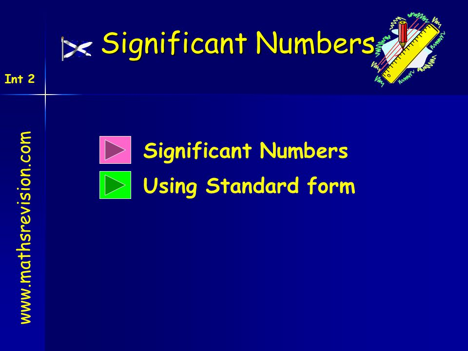 Significant Numbers Using Standard form Significant Numbers www.mathsrevision.com Int 2