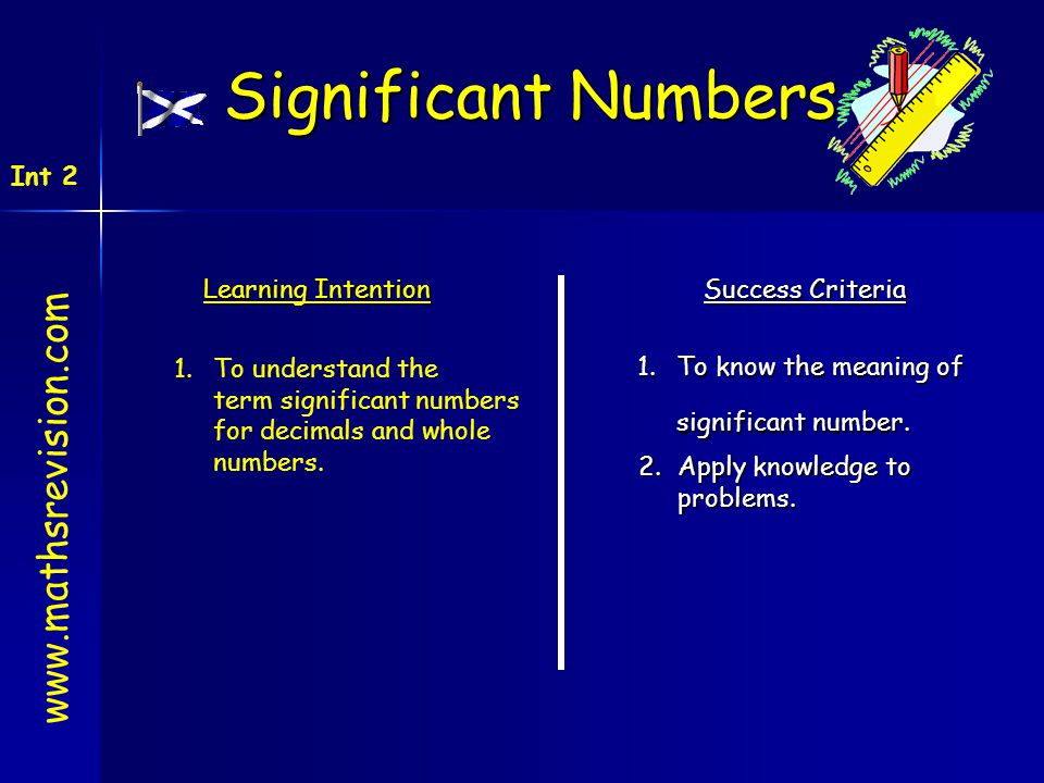Learning Intention Success Criteria 1.To know the meaning of significant number. 1.To understand the term significant numbers for decimals and whole n