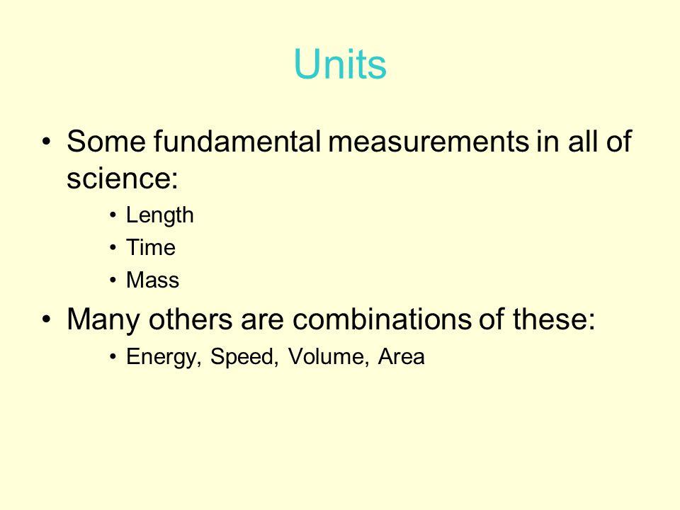 Units International Standard Units (SI, aka metric) –Length (m – meter) –Mass (kg – kilogram) –Time (s – seconds) –Energy (J – joules) –Temperature (K – kelvin)