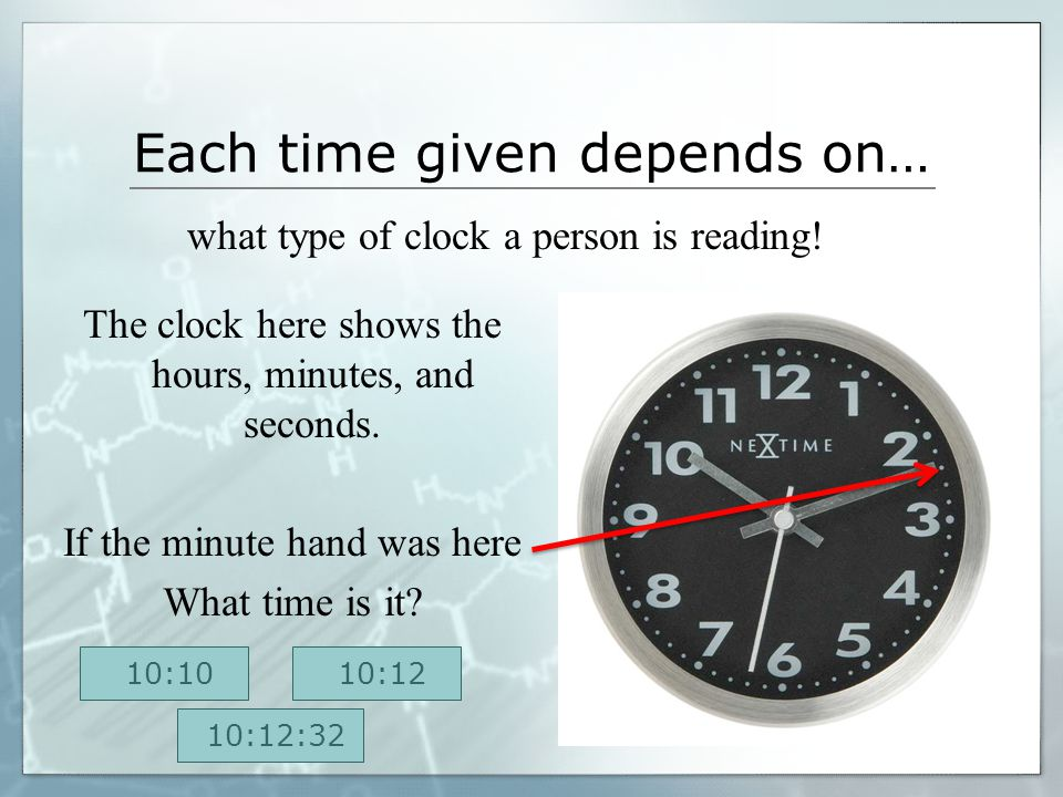 Not Exactly… The clock here shows the hours and each minute increment. But the clock still does not display time in seconds. TRY AGAIN!