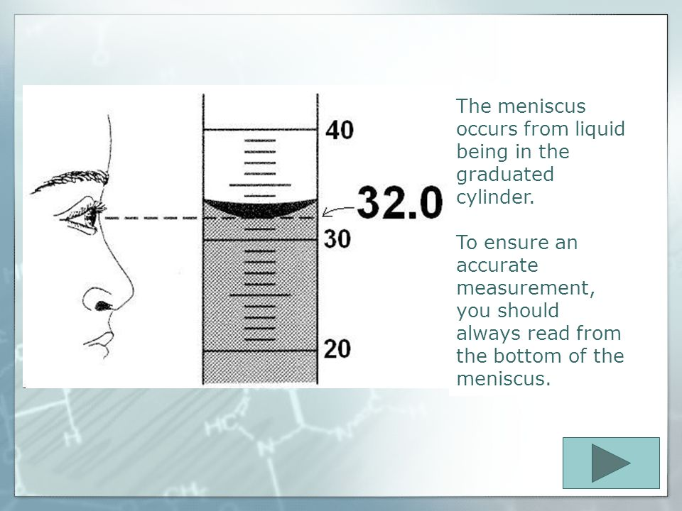 Graduated Cylinders  Are used to measure the volume of a liquid  Always, record the measurements from the bottom of the meniscus.