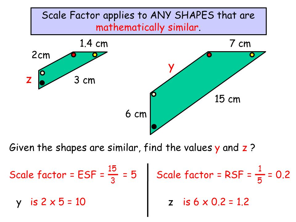 Given the shapes are similar, find the values y and z ? Scale Factor applies to ANY SHAPES that are mathematically similar. 15 cm 3 cm 7 cm 2cm y z 6