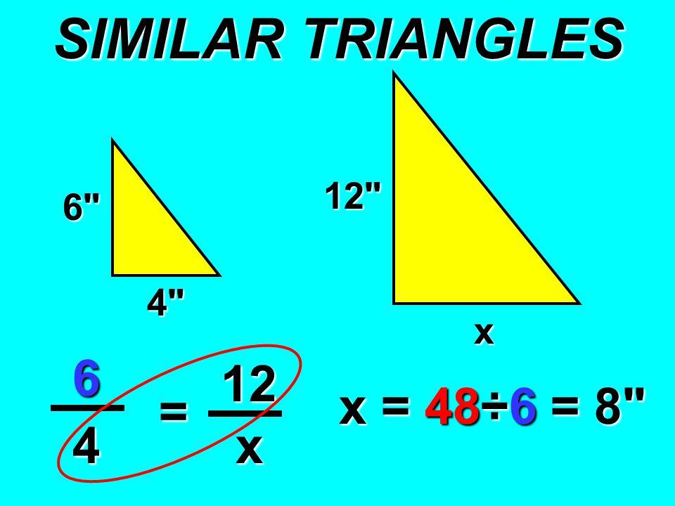 6 12 4 x 6 12 4 = x x = 48÷6 = 8
