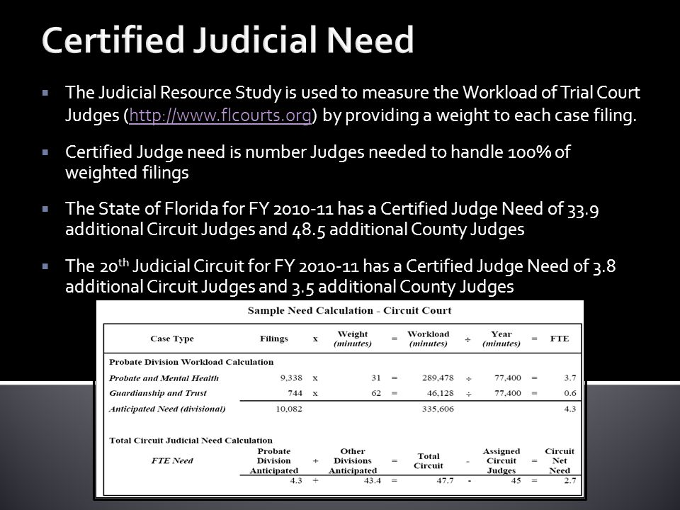 Certified Judicial Need  The Judicial Resource Study is used to measure the Workload of Trial Court Judges (http://www.flcourts.org) by providing a weight to each case filing.http://www.flcourts.org  Certified Judge need is number Judges needed to handle 100% of weighted filings  The State of Florida for FY 2010-11 has a Certified Judge Need of 33.9 additional Circuit Judges and 48.5 additional County Judges  The 20 th Judicial Circuit for FY 2010-11 has a Certified Judge Need of 3.8 additional Circuit Judges and 3.5 additional County Judges