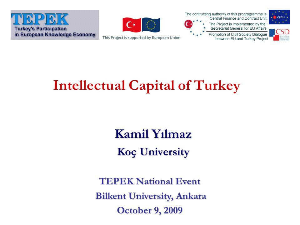 Intellectual Capital of Turkey Kamil Yılmaz Koç University TEPEK National Event Bilkent University, Ankara Bilkent University, Ankara October 9, 2009