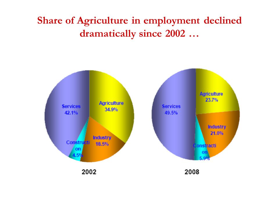 Share of Agriculture in employment declined dramatically since 2002 …