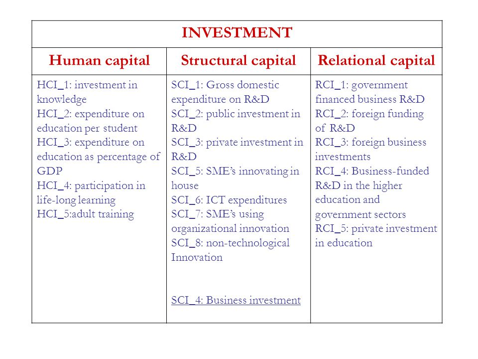 INVESTMENT Human capitalStructural capitalRelational capital HCI_1: investment in knowledge HCI_2: expenditure on education per student HCI_3: expendi