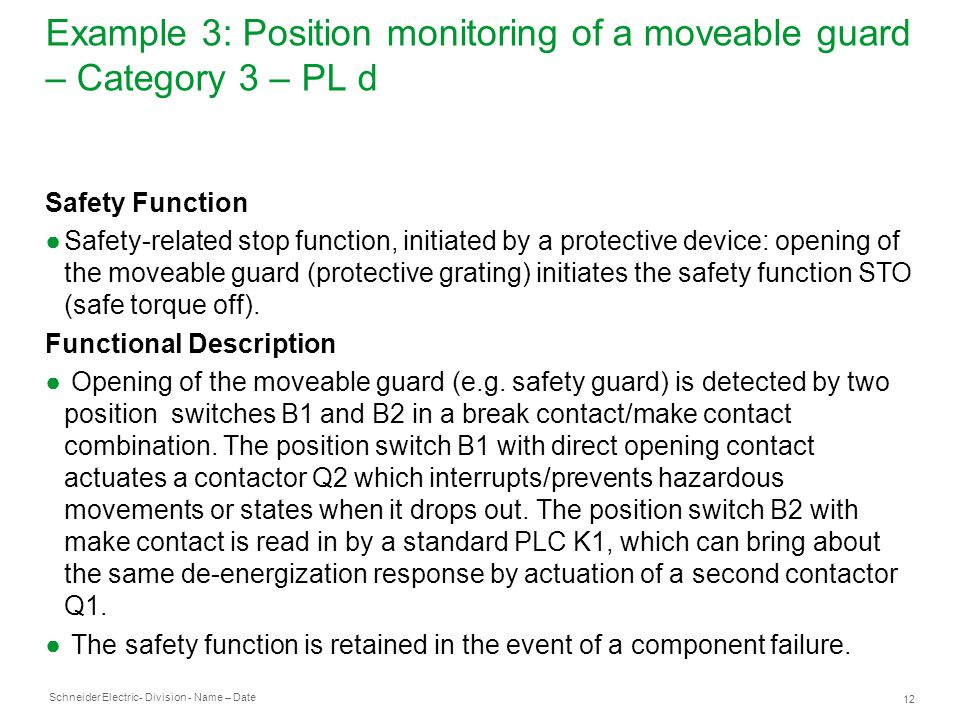 Schneider Electric 12 - Division - Name – Date Example 3: Position monitoring of a moveable guard – Category 3 – PL d Safety Function ●Safety-related